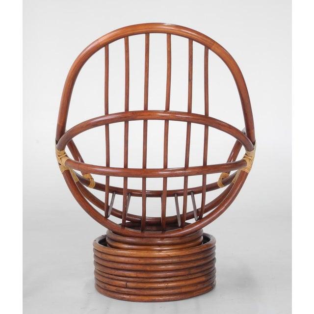 Mid-Century Swivel Rattan Bamboo Pod Chair & Ottoman - Image 4 of 6