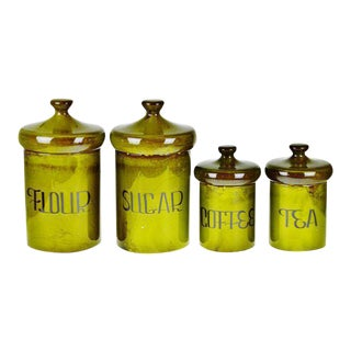 Vintage 1970's Ceramic Canister Set, Sugar, Flour, Coffee, Tea - Rustic Avocado Green