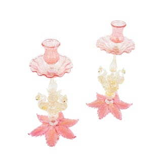 1920s Vintage Pink Murano Glass Candle Holders - a Pair