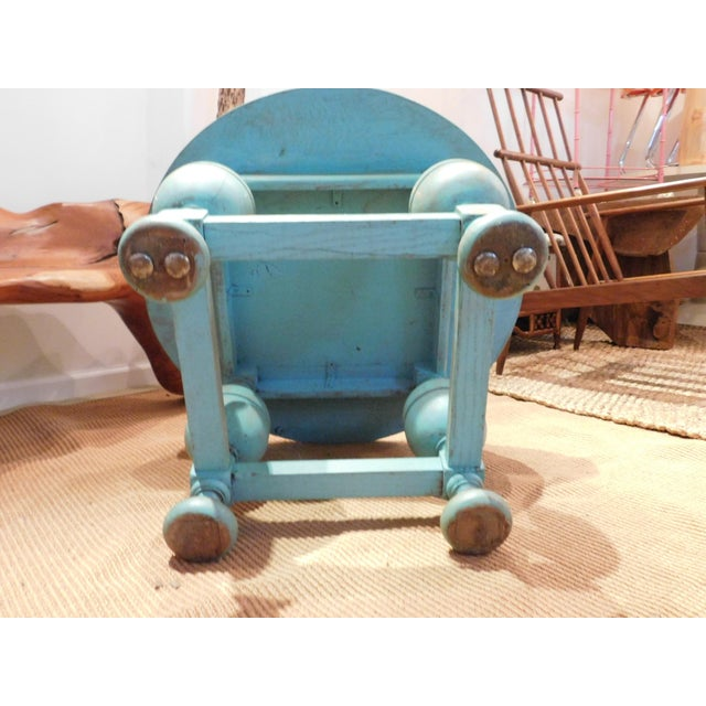 Painted Turquoise Table With Gold Glaze - Image 7 of 9