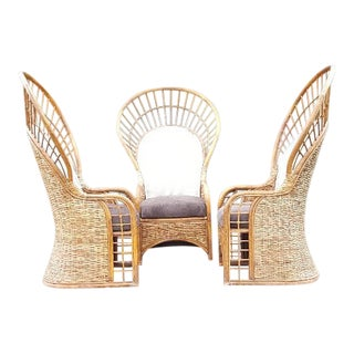 Set of 5 Bamboo Peacock Fan Chairs and Glass Table