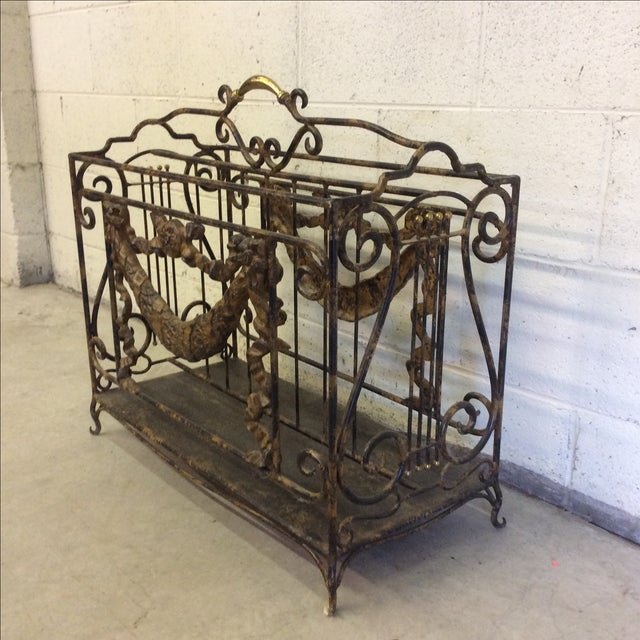 Ornate Lyre Iron Magazine Rack - Image 4 of 9