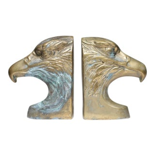 Mid-Century Brass Eagle Bookends - A Pair