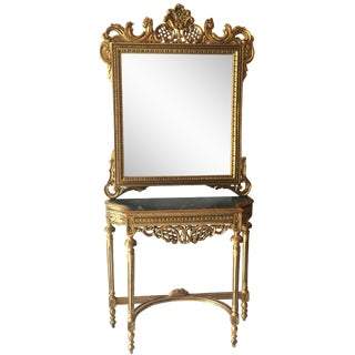 Gilt &Marble Console Table & Mirror