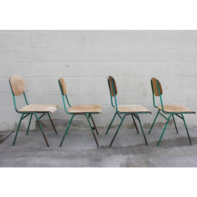 Vintage French Stacking Steel, Bentwood and Leather Schoolhouse Dining Chairs - Set of 4 - Image 6 of 11