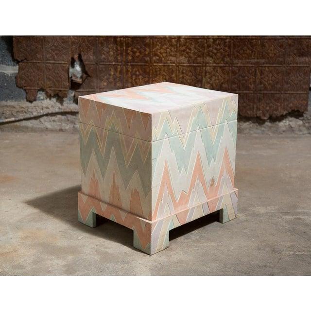 Pastel Geometric Wooden Storage Box - Image 2 of 6