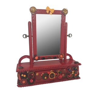 Tramp Art Table Mirror