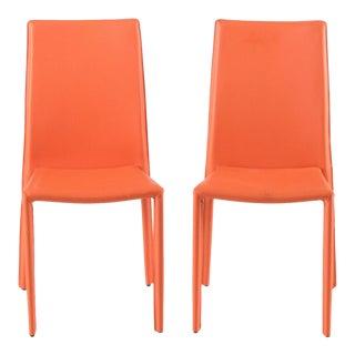 Modern Orange Vinyl Side Chairs - A Pair