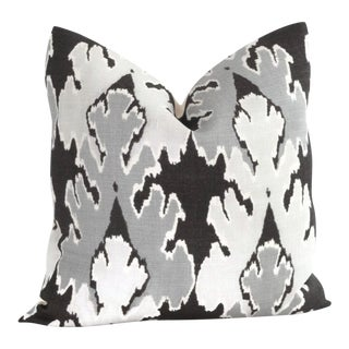 "20"" x 20"" Graphite Ikat Pillow Cover Square"