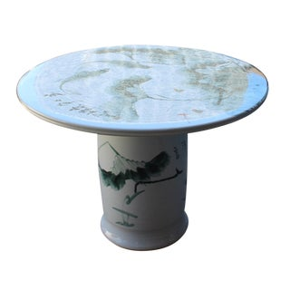 Chinese White Porcelain Green Lotus Fish Motif Round Table