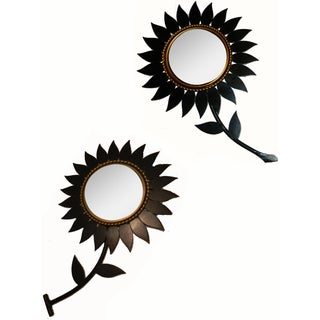 Vintage Chanty Vallauris French Flower Mirrors - Pair