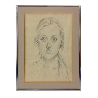 1978 Young Girl Portrait Drawing