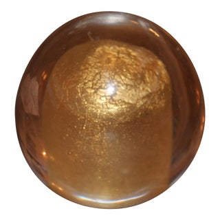 Mid-Century Modern Gold Infused Murano Glass Blown Paperweight