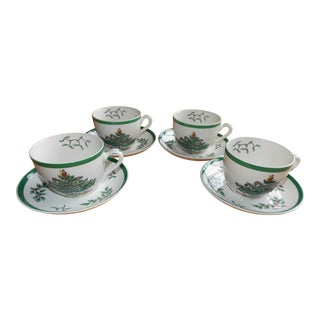 Authentic Spode 'Christmas Tree' Cup & Saucer - Set of 4