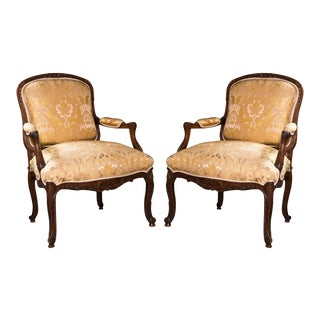French Louis XV Style Walnut Bergeres - A Pair