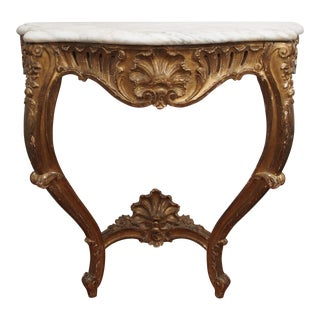 Marble top giltwood console