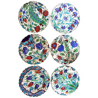 Turkish Handmade Floral Tile Plates - Set of 6