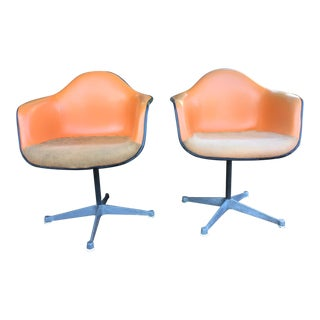 Herman Miller Shell Chairs with Alexander Girard Fabric and Naugahyde - A Pair