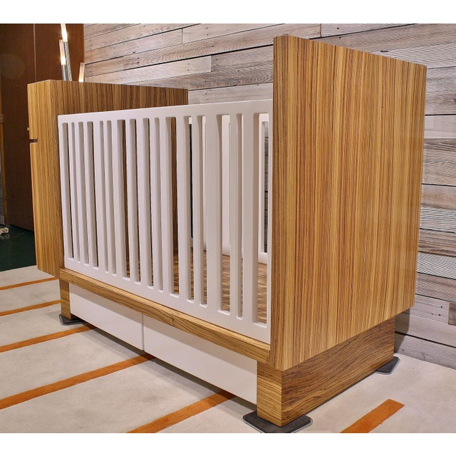 Modern Zebrawood Crib and Built-In Changing Table - Image 5 of 5
