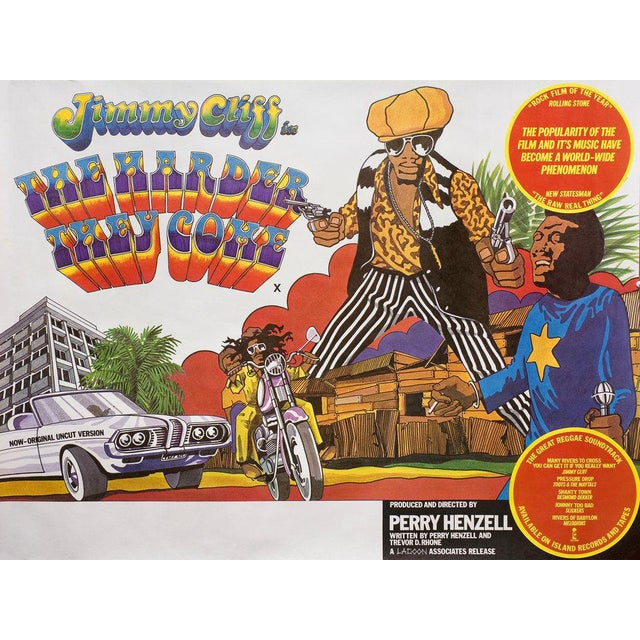 Image of Jimmy Cliff the Harder They Come 1970s Original Movie Poster Reggae