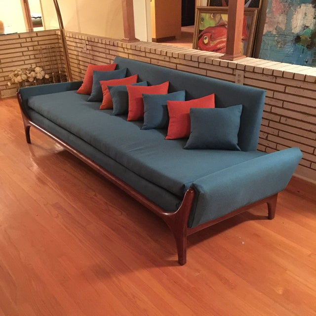 Reupholstered Danish Modern Wing Arm Sofa - Image 3 of 10