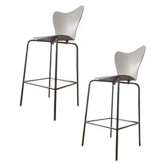 West Elm White Bar Stools - A Pair