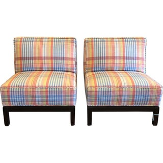 Prospr Plaid Slipper Chairs W Scalamandre Silk Le Cirque - a Pair