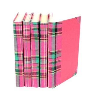 Bespoke Pink & Green Plaid Books - Set of 5