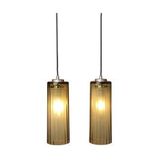 Amber Glass Cylindar Pendants - A Pair