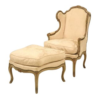 Louis XV Style French Antique Bergere and Ottoman