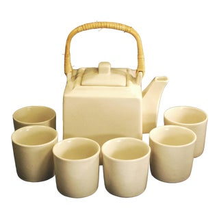 White Stoneware Teapot & Cups Rattan Handle - 7