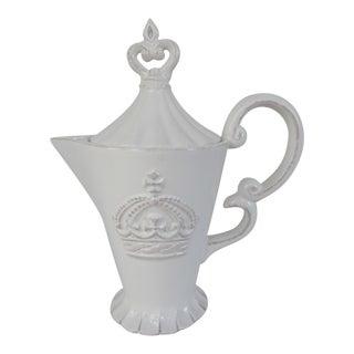 White Ceramic Crown Tea Pot
