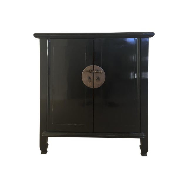 Spruce Wood Small Black Cabinets - Pair - Image 1 of 5
