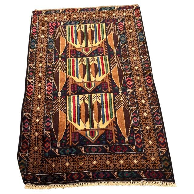 "Vintage Handmade Persian Baluchi Rug - 2'10""x4'7"" - Image 1 of 10"