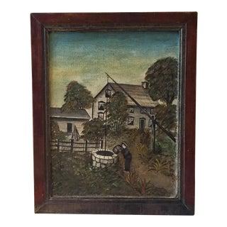 19th Century Folk Art Oil on Canvas Painting