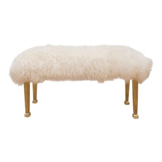Polished Brass and Mongolian Wool Bench