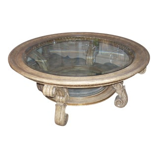 Hollywood Regency Round Two Tier Glass & Wood Coffee Table