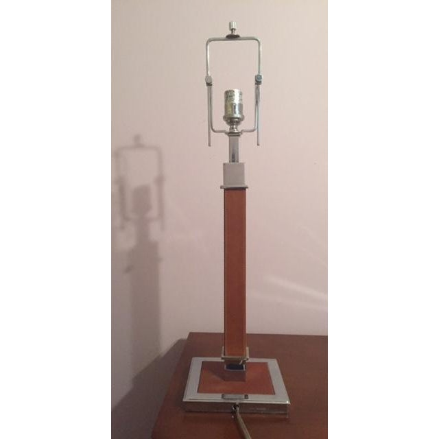 Ralph Lauren Saddle Leather and Chrome Table Lamp - Image 3 of 4