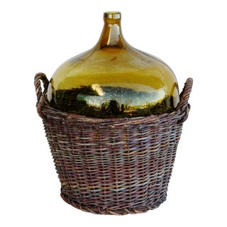 French Country Demijohn Glass Bottle in Grape Vine Basket