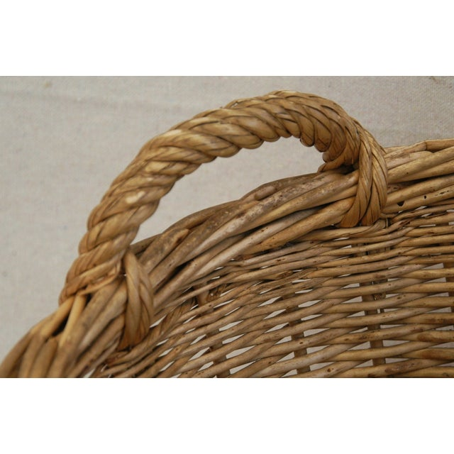 Early 1900s Woven French Country Market Basket - Image 6 of 8