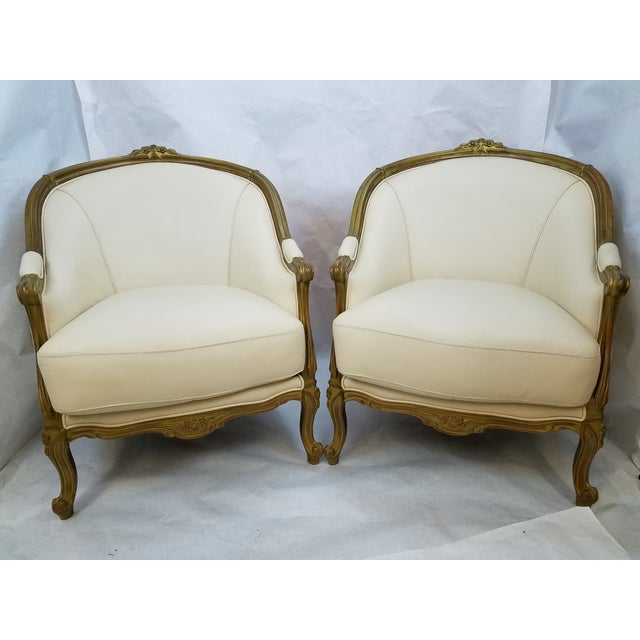 Ivory Leather Bergere Club Chairs - A Pair - Image 2 of 6