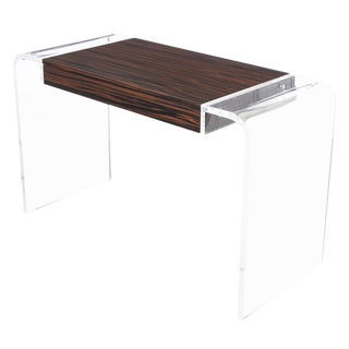 Macassar Ebony & Lucite Waterfall Writing Desk or Console