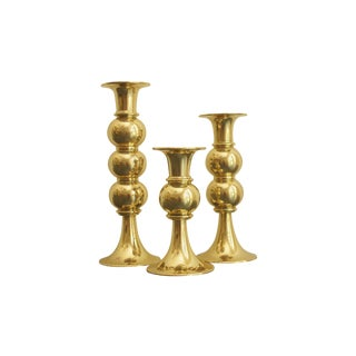 Brass Tulip Candlestick Holders - Set of 3