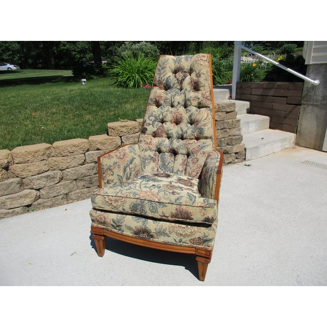 Tufted High Back Armchair With Beautiful Wood Detail - Image 4 of 11