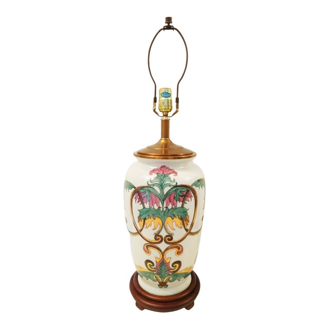 Image of Vintage Crackle Glazed Chinoiserie Table Lamp