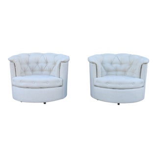 Beautiful Pair of Milo BaughmanTufted Swivel Chairs
