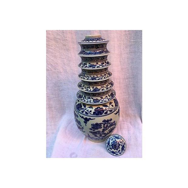 Blue & White Pagoda Ginger Jars - Pair - Image 4 of 7