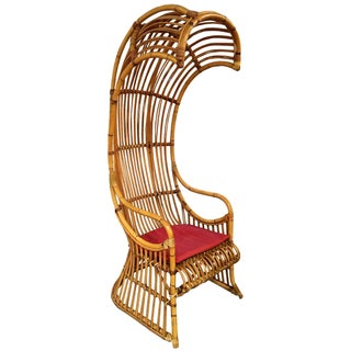 Rattan Canopy Chair With Leather Cushion