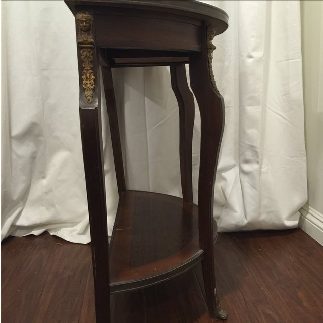 Image of Marble D-Shaped Side Table