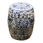 Image of Chinese Blue & White Porcelain Foo Dogs Stool